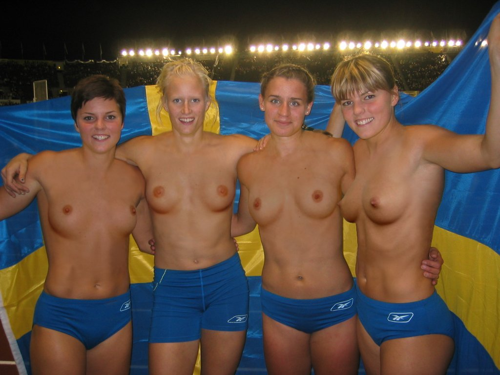 Nude female swim team